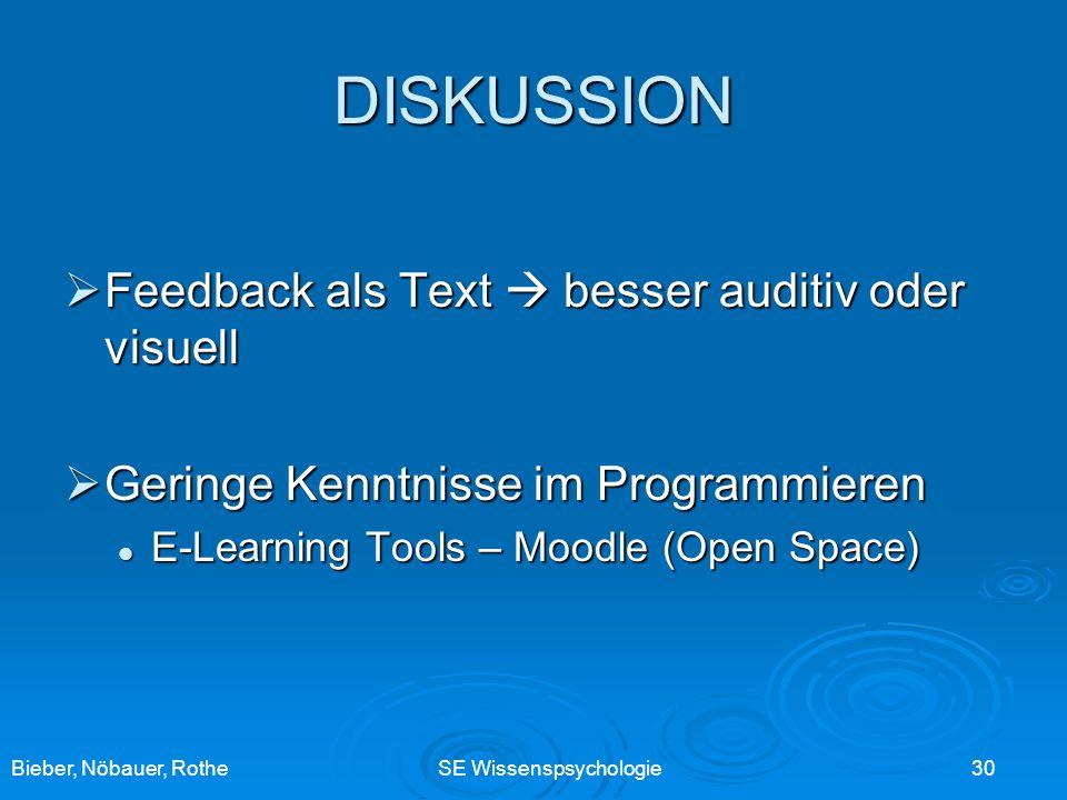 Bieber, Nöbauer, RotheSE Wissenspsychologie 30 DISKUSSION Feedback als Text besser auditiv oder visuell Feedback als Text besser auditiv oder visuell