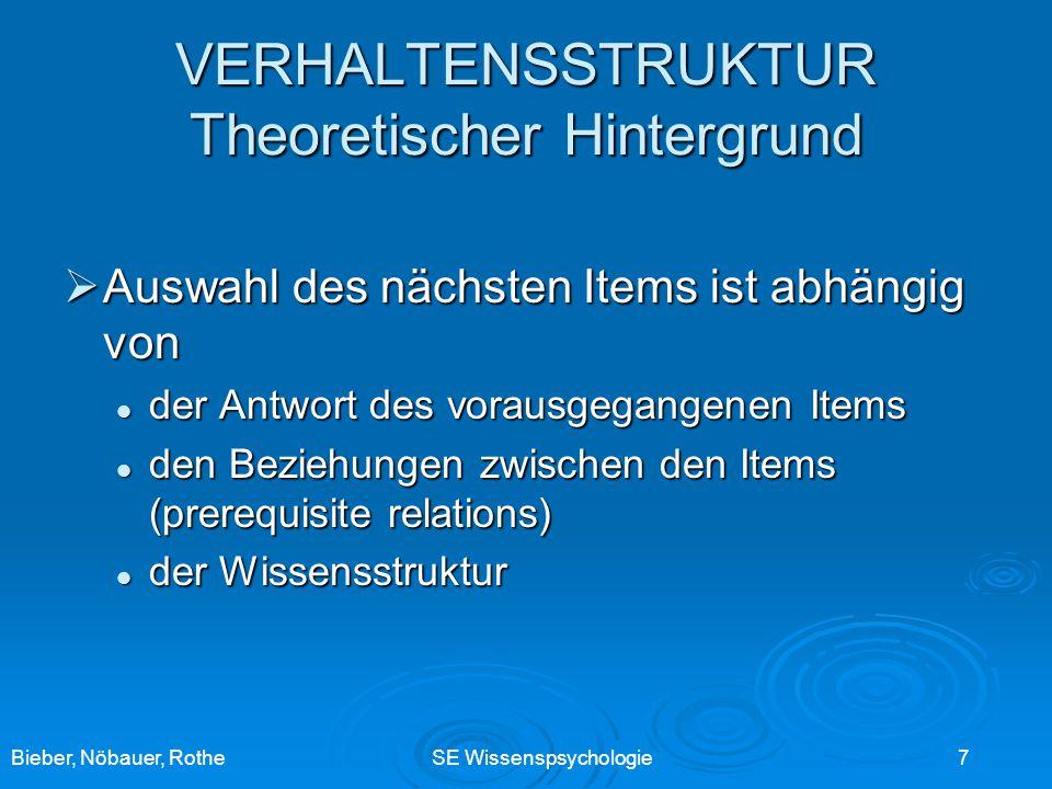 Bieber, Nöbauer, RotheSE Wissenspsychologie 7 VERHALTENSSTRUKTUR Theoretischer Hintergrund Auswahl des nächsten Items ist abhängig von Auswahl des näc