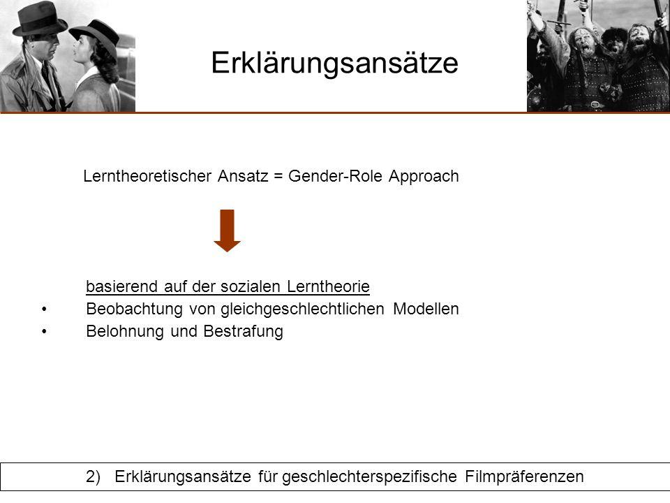 Schnulzen Gender-Role Approach Orientierung an gleichgeschlechtlichen Modellen Zuseher identifizieren sich stärker mit charakterlich ähnlichen Hauptdarstellern vom selben Geschlecht bereits in jungen Jahren widmen Kinder, besonders Buben, gleichgeschlechtlichen Modellen mehr Aufmerksamkeit (Zusammenfassung Oliver, 2000) 2) Erklärungsansätze für geschlechterspezifische Filmpräferenzen