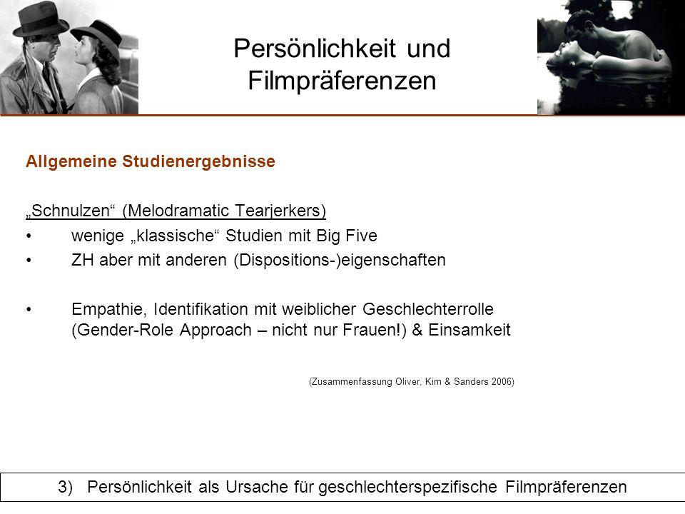 Persönlichkeit und Filmpräferenzen Allgemeine Studienergebnisse Schnulzen (Melodramatic Tearjerkers) Personen, die gerne traurig sind Warum.