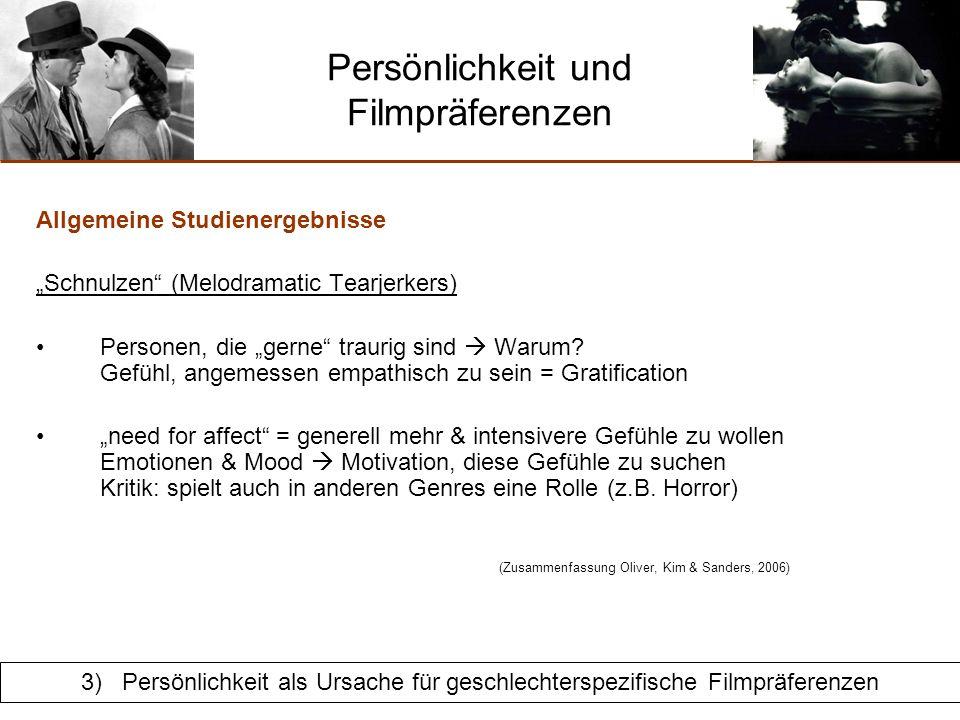 Persönlichkeit und Filmpräferenzen Interaktion Persönlichkeit & Geschlecht Schnulzen (Melodramatic Tearjerkers) Frauen + empathische Personen = sind Frauen empathischer.