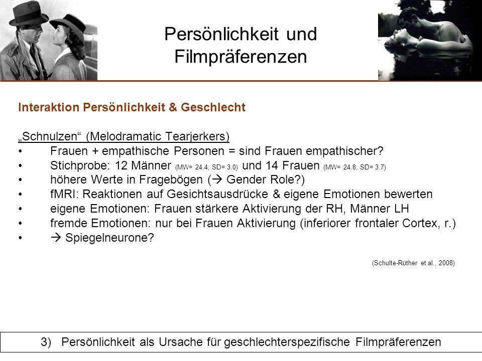 Persönlichkeit und Filmpräferenzen Interaktion Persönlichkeit & Geschlecht Schnulzen (Melodramatic Tearjerkers) need for affect = haben Frauen höhere Werte.