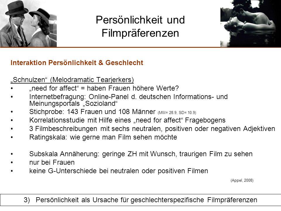 Persönlichkeit und Filmpräferenzen Zusammenfassung & Kritik: Schnulzen (Melodramatic Tearjerkers) Kritik:stets nur Korrelationen, keine Kausalanalysen möglich.