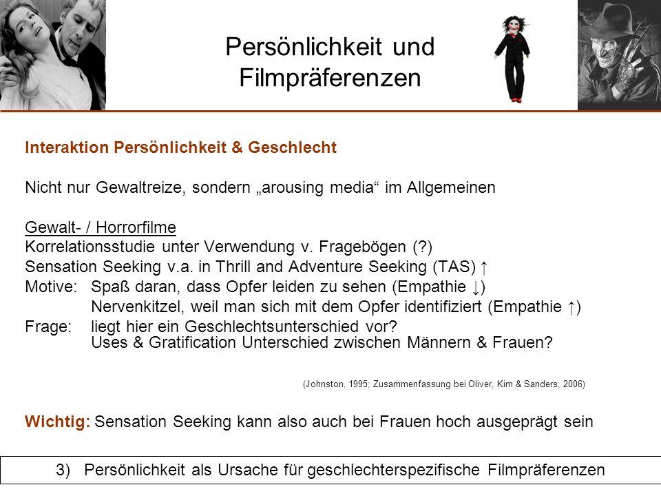 Persönlichkeit und Filmpräferenzen Interaktion Persönlichkeit & Geschlecht Pornographie Korrelationsstudie unter Verwendung v.