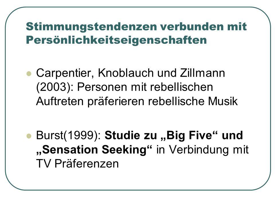 Stimmungstendenzen verbunden mit Persönlichkeitseigenschaften Carpentier, Knoblauch und Zillmann (2003): Personen mit rebellischen Auftreten präferieren rebellische Musik Burst(1999): Studie zu Big Five und Sensation Seeking in Verbindung mit TV Präferenzen