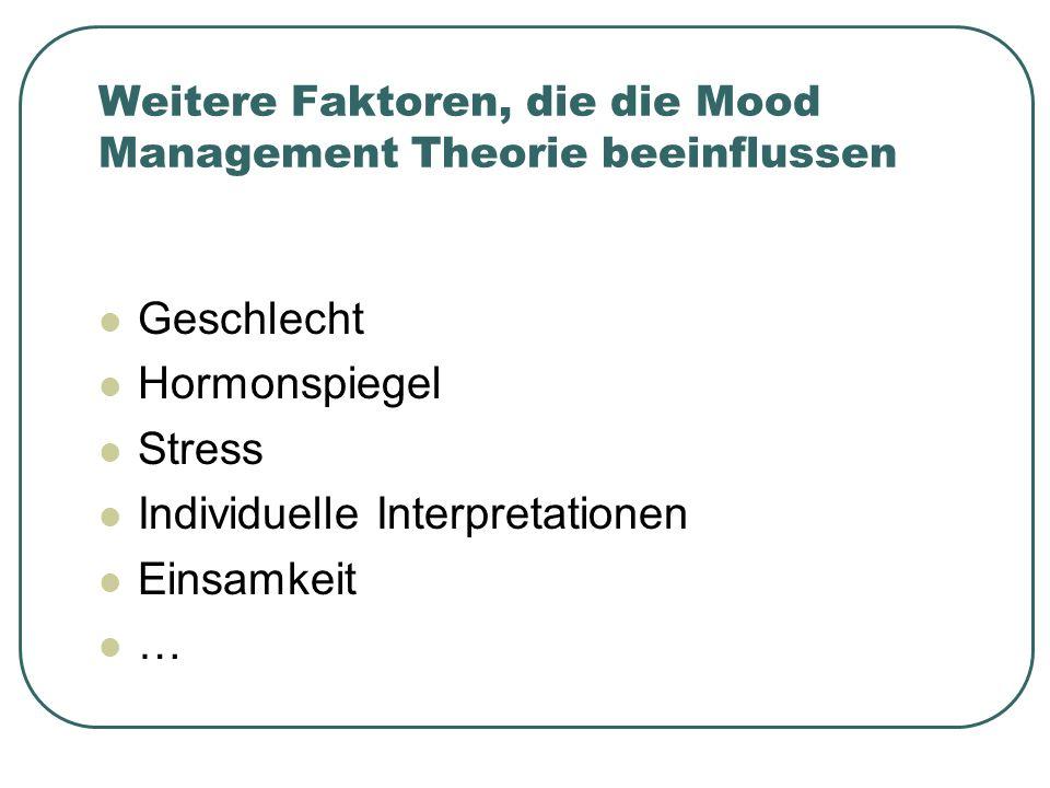 Weitere Faktoren, die die Mood Management Theorie beeinflussen Geschlecht Hormonspiegel Stress Individuelle Interpretationen Einsamkeit …