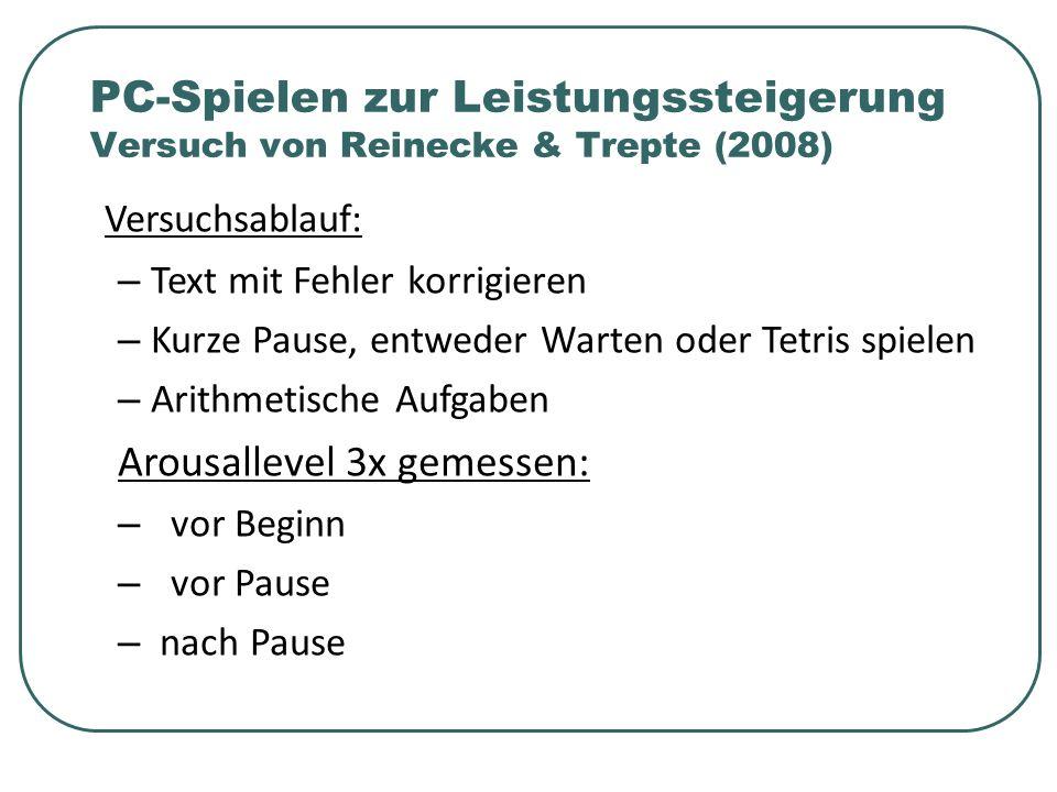 Versuchsablauf: – Text mit Fehler korrigieren – Kurze Pause, entweder Warten oder Tetris spielen – Arithmetische Aufgaben Arousallevel 3x gemessen: – vor Beginn – vor Pause – nach Pause PC-Spielen zur Leistungssteigerung Versuch von Reinecke & Trepte (2008)