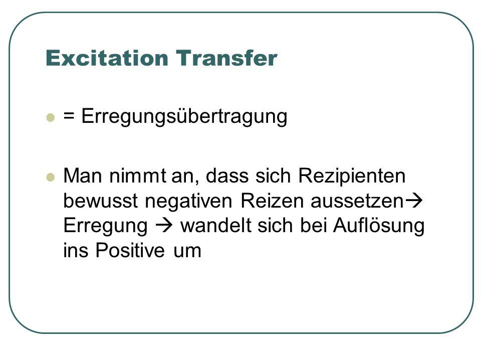 Excitation Transfer = Erregungsübertragung Man nimmt an, dass sich Rezipienten bewusst negativen Reizen aussetzen Erregung wandelt sich bei Auflösung ins Positive um