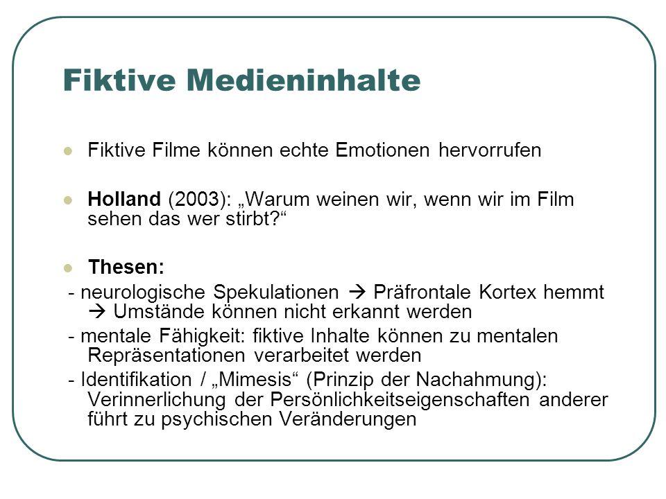 Fiktive Medieninhalte Fiktive Filme können echte Emotionen hervorrufen Holland (2003): Warum weinen wir, wenn wir im Film sehen das wer stirbt.