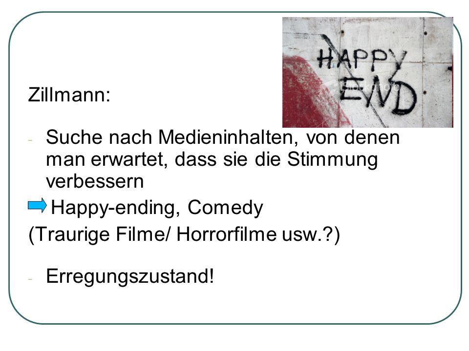 Zillmann: -S-Suche nach Medieninhalten, von denen man erwartet, dass sie die Stimmung verbessern Happy-ending, Comedy (Traurige Filme/ Horrorfilme usw.?) -E-Erregungszustand!