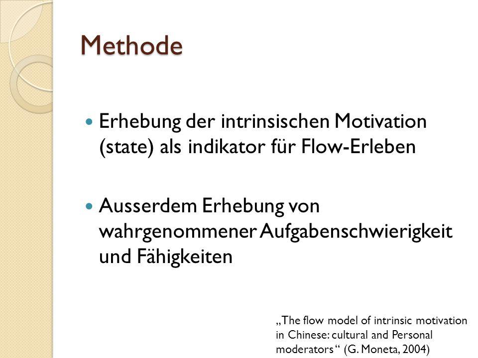 Methode Erhebung der intrinsischen Motivation (state) als indikator für Flow-Erleben Ausserdem Erhebung von wahrgenommener Aufgabenschwierigkeit und F