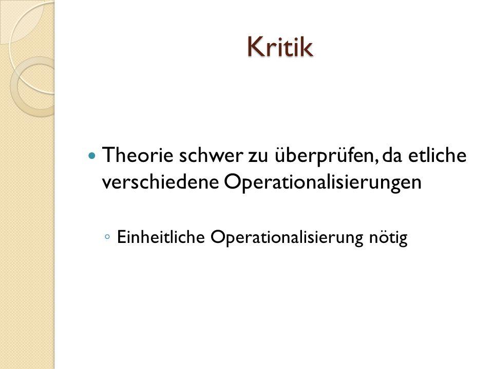 Kritik Theorie schwer zu überprüfen, da etliche verschiedene Operationalisierungen Einheitliche Operationalisierung nötig