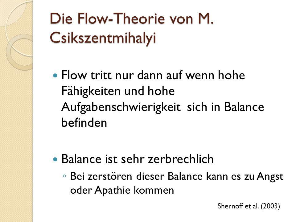 Die Flow-Theorie von M. Csikszentmihalyi Flow tritt nur dann auf wenn hohe Fähigkeiten und hohe Aufgabenschwierigkeit sich in Balance befinden Balance