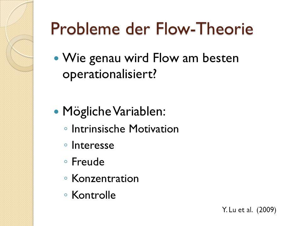 Probleme der Flow-Theorie Wie genau wird Flow am besten operationalisiert? Mögliche Variablen: Intrinsische Motivation Interesse Freude Konzentration