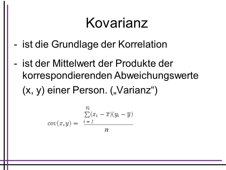 Kovarianz -ist die Grundlage der Korrelation -ist der Mittelwert der Produkte der korrespondierenden Abweichungswerte (x, y) einer Person. (Varianz)
