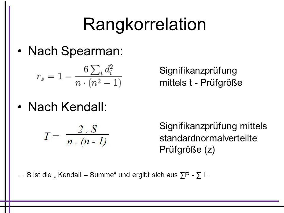 Rangkorrelation Nach Spearman: Signifikanzprüfung mittels t - Prüfgröße Nach Kendall: Signifikanzprüfung mittels standardnormalverteilte Prüfgröße (z)