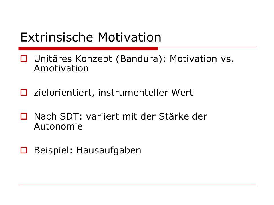 Extrinsische Motivation Unitäres Konzept (Bandura): Motivation vs.