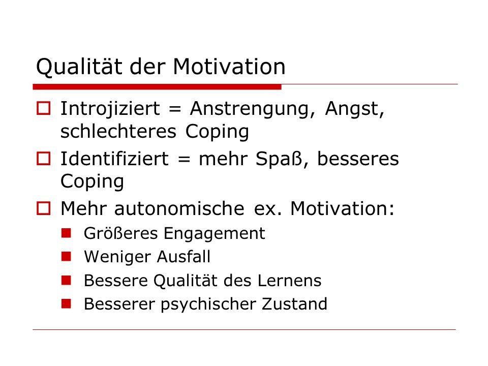 Qualität der Motivation Introjiziert = Anstrengung, Angst, schlechteres Coping Identifiziert = mehr Spaß, besseres Coping Mehr autonomische ex.