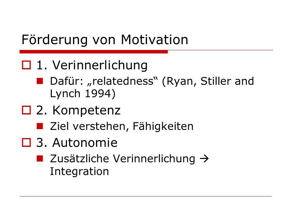 Förderung von Motivation 1.Verinnerlichung Dafür: relatedness (Ryan, Stiller and Lynch 1994) 2.