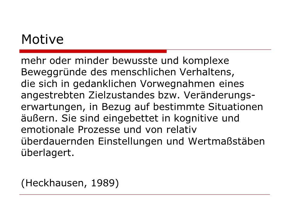 Motive mehr oder minder bewusste und komplexe Beweggründe des menschlichen Verhaltens, die sich in gedanklichen Vorwegnahmen eines angestrebten Zielzustandes bzw.