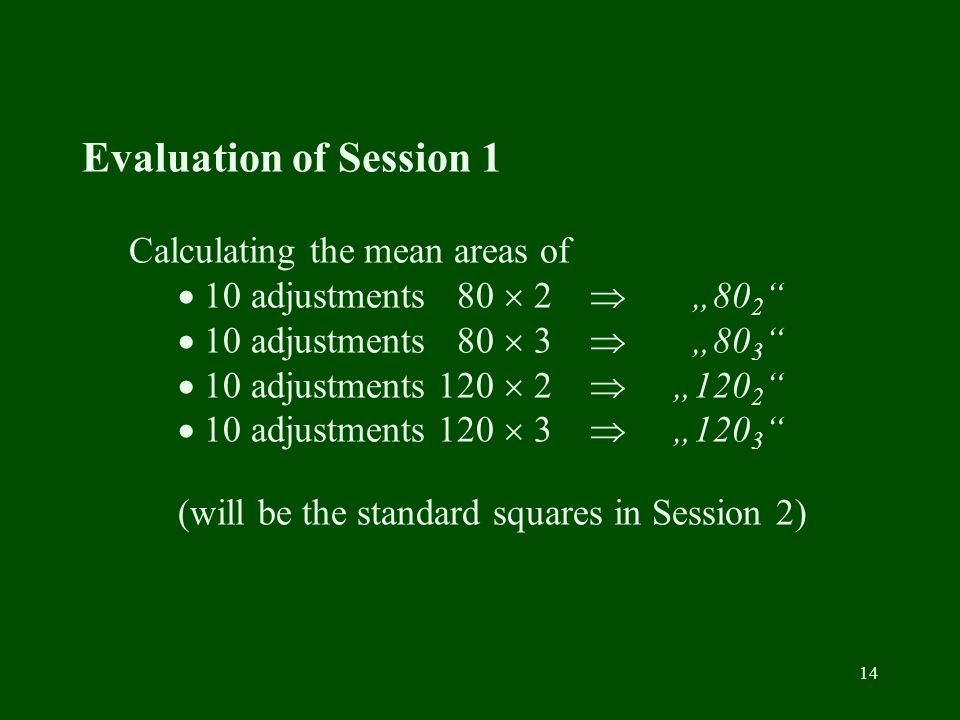 14 Evaluation of Session 1 Calculating the mean areas of 10 adjustments 80 2 80 2 10 adjustments 80 3 80 3 10 adjustments 120 2 120 2 10 adjustments 1