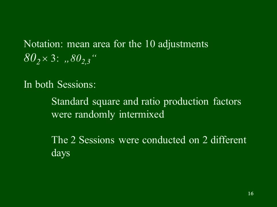 16 Notation: mean area for the 10 adjustments 80 2 3: 80 2,3 In both Sessions: Standard square and ratio production factors were randomly intermixed The 2 Sessions were conducted on 2 different days