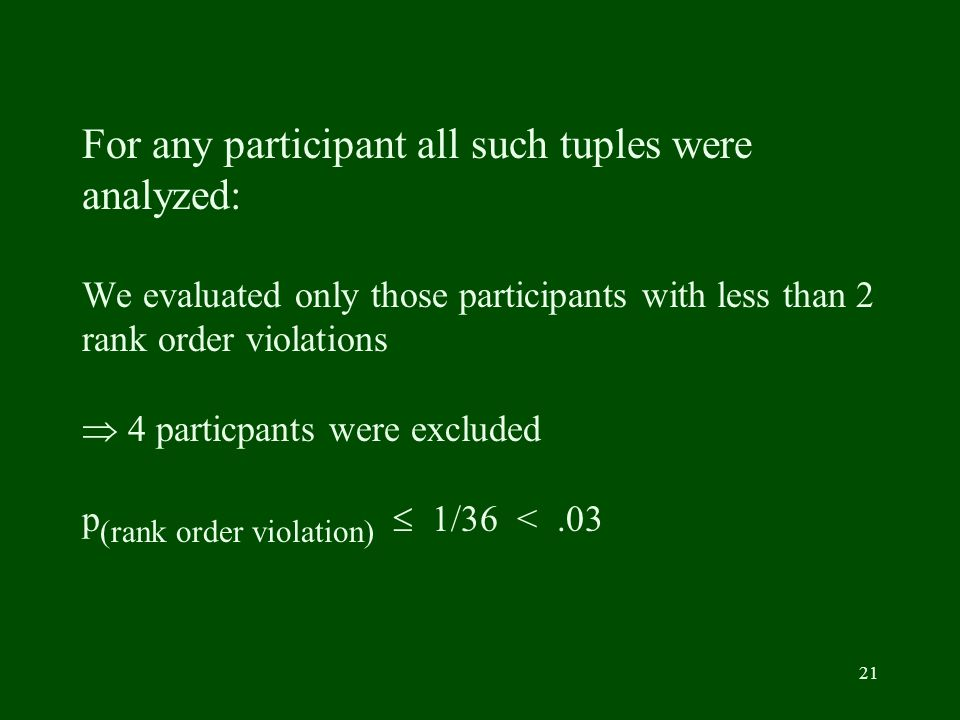 21 For any participant all such tuples were analyzed: We evaluated only those participants with less than 2 rank order violations 4 particpants were excluded p (rank order violation) 1/36 <.03