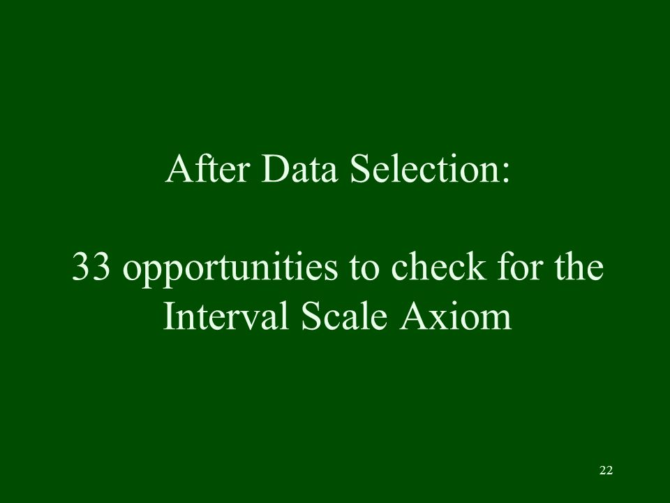 22 After Data Selection: 33 opportunities to check for the Interval Scale Axiom