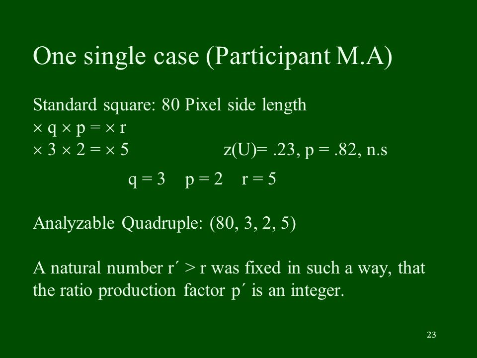 23 One single case (Participant M.A) Standard square: 80 Pixel side length q p = r 3 2 = 5 z(U)=.23, p =.82, n.s q = 3 p = 2 r = 5 Analyzable Quadrupl