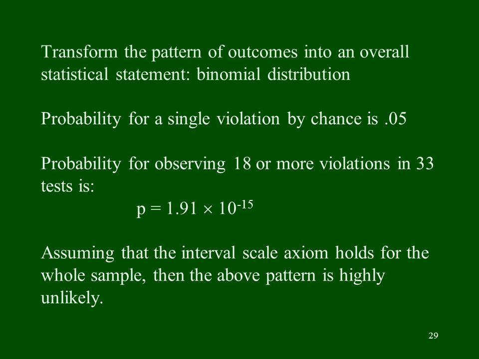 29 Transform the pattern of outcomes into an overall statistical statement: binomial distribution Probability for a single violation by chance is.05 Probability for observing 18 or more violations in 33 tests is: p = 1.91 10 -15 Assuming that the interval scale axiom holds for the whole sample, then the above pattern is highly unlikely.