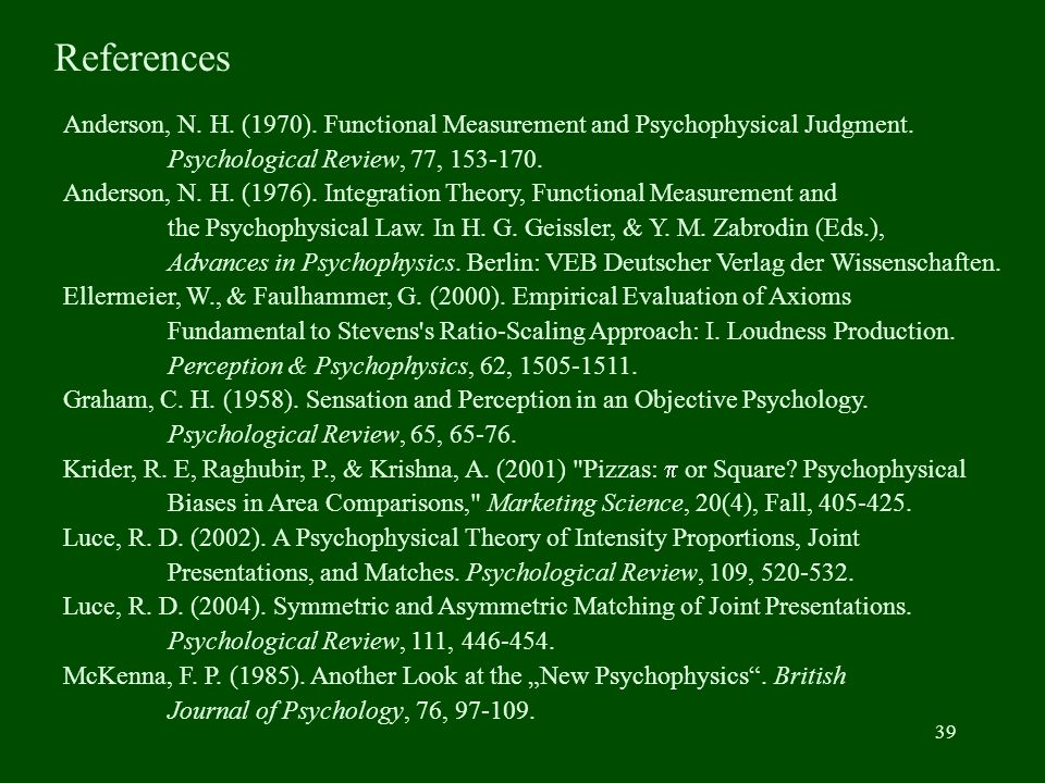 39 Anderson, N.H. (1970). Functional Measurement and Psychophysical Judgment.