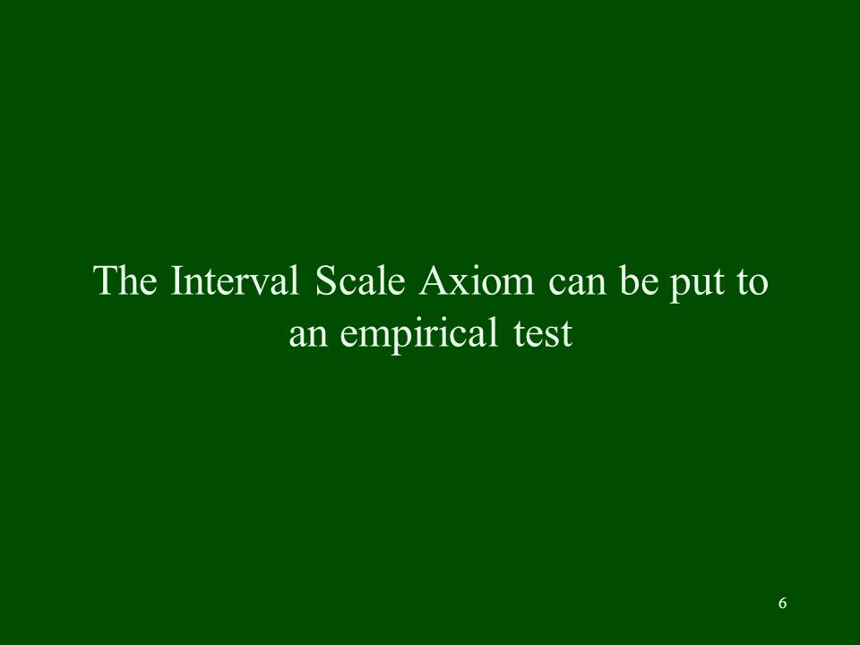 6 The Interval Scale Axiom can be put to an empirical test