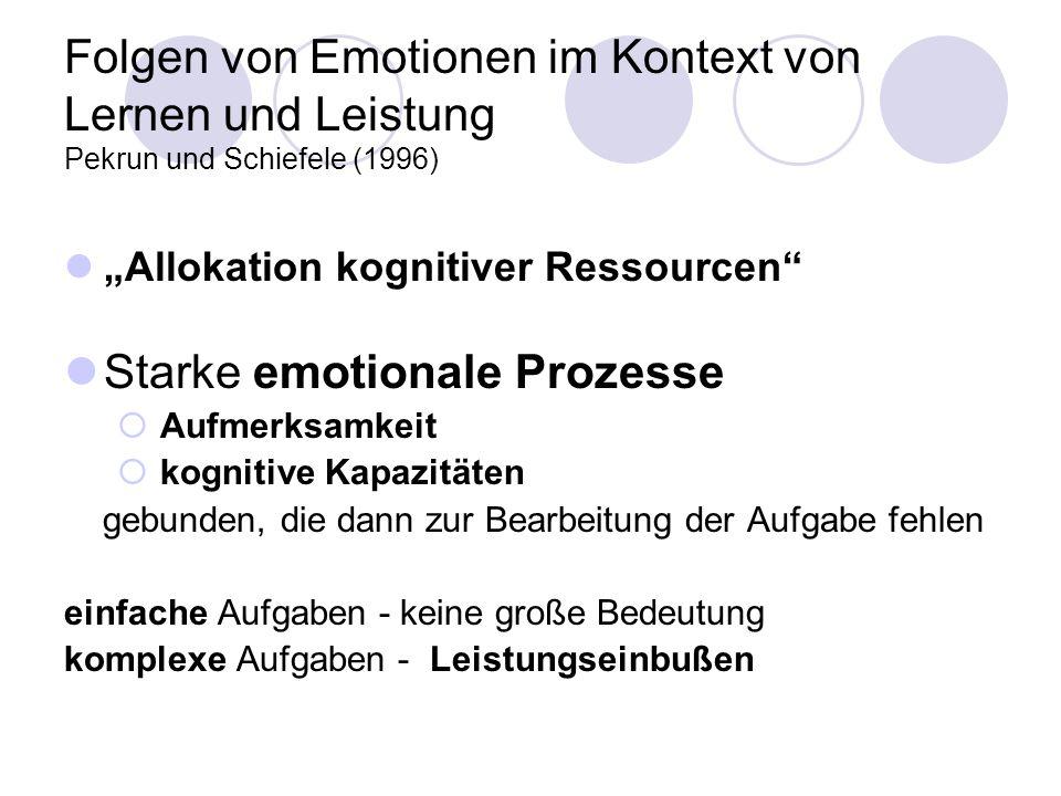Folgen von Emotionen im Kontext von Lernen und Leistung Pekrun und Schiefele (1996) Allokation kognitiver Ressourcen Starke emotionale Prozesse Aufmer