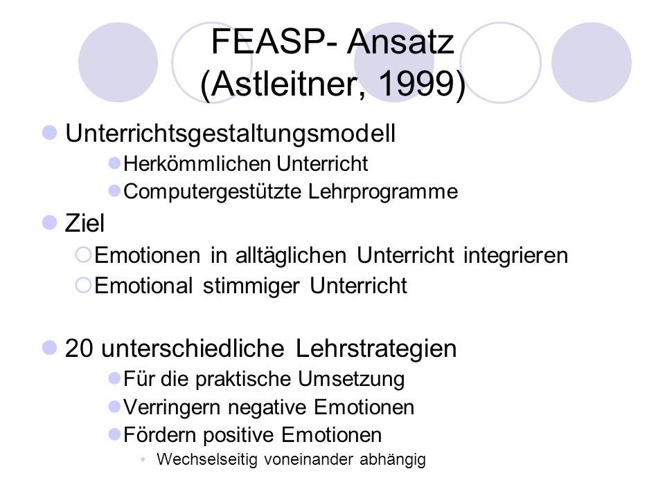 FEASP- Ansatz (Astleitner, 1999) Unterrichtsgestaltungsmodell Herkömmlichen Unterricht Computergestützte Lehrprogramme Ziel Emotionen in alltäglichen