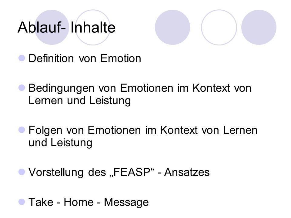 Ablauf- Inhalte Definition von Emotion Bedingungen von Emotionen im Kontext von Lernen und Leistung Folgen von Emotionen im Kontext von Lernen und Lei