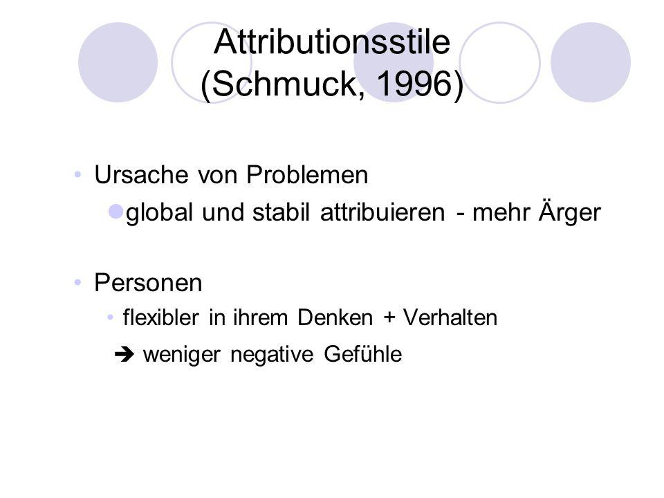Attributionsstile (Schmuck, 1996) Ursache von Problemen global und stabil attribuieren - mehr Ärger Personen flexibler in ihrem Denken + Verhalten wen