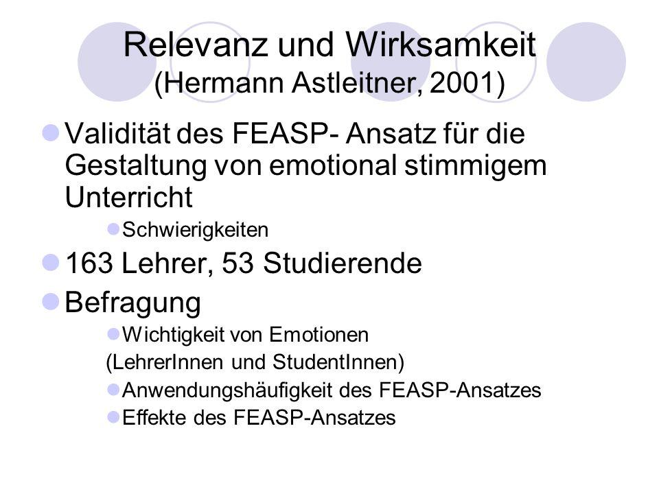Relevanz und Wirksamkeit (Hermann Astleitner, 2001) Validität des FEASP- Ansatz für die Gestaltung von emotional stimmigem Unterricht Schwierigkeiten