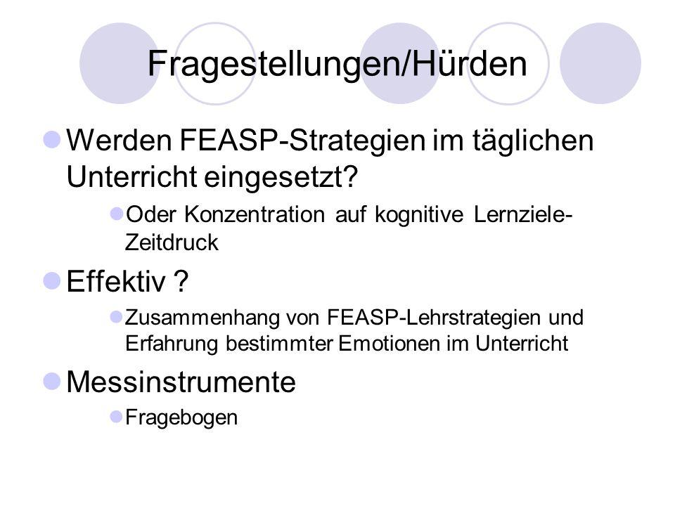 Fragestellungen/Hürden Werden FEASP-Strategien im täglichen Unterricht eingesetzt? Oder Konzentration auf kognitive Lernziele- Zeitdruck Effektiv ? Zu