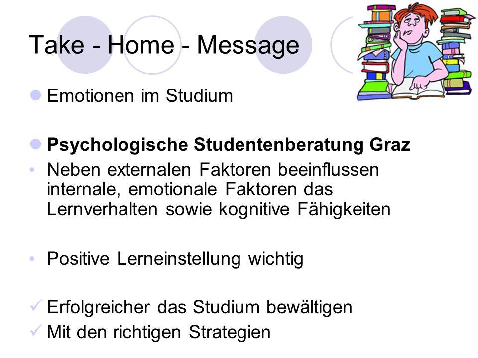 Take - Home - Message Emotionen im Studium Psychologische Studentenberatung Graz Neben externalen Faktoren beeinflussen internale, emotionale Faktoren