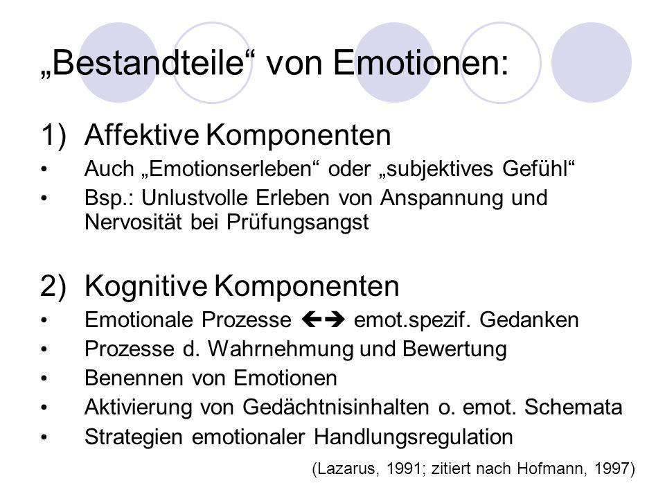 Bestandteile von Emotionen: 1)Affektive Komponenten Auch Emotionserleben oder subjektives Gefühl Bsp.: Unlustvolle Erleben von Anspannung und Nervosit