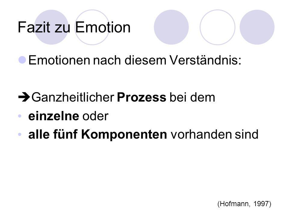 Fazit zu Emotion Emotionen nach diesem Verständnis: Ganzheitlicher Prozess bei dem einzelne oder alle fünf Komponenten vorhanden sind (Hofmann, 1997)