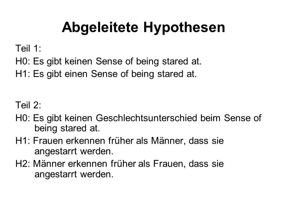 Abgeleitete Hypothesen Teil 1: H0: Es gibt keinen Sense of being stared at. H1: Es gibt einen Sense of being stared at. Teil 2: H0: Es gibt keinen Ges