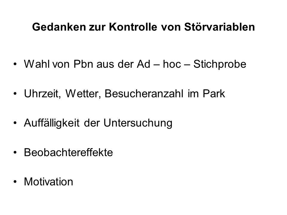 Gedanken zur Kontrolle von Störvariablen Wahl von Pbn aus der Ad – hoc – Stichprobe Uhrzeit, Wetter, Besucheranzahl im Park Auffälligkeit der Untersuc