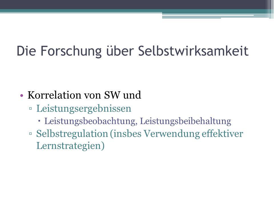 Die Forschung über Selbstwirksamkeit Korrelation von SW und Leistungsergebnissen Leistungsbeobachtung, Leistungsbeibehaltung Selbstregulation (insbes