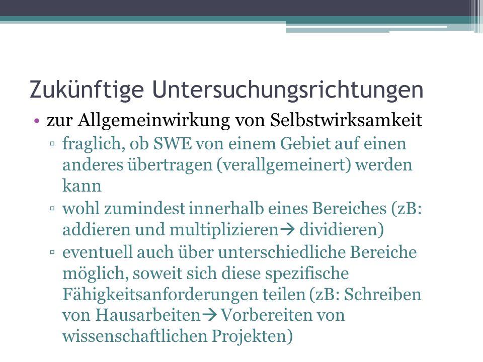 Zukünftige Untersuchungsrichtungen zur Allgemeinwirkung von Selbstwirksamkeit fraglich, ob SWE von einem Gebiet auf einen anderes übertragen (verallge