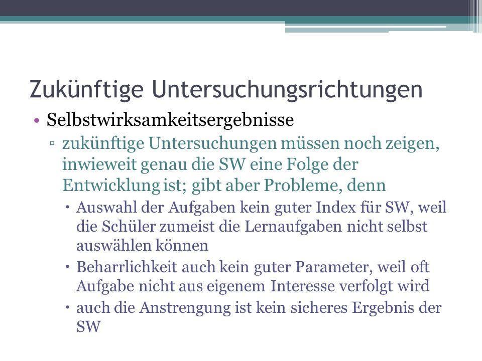 Zukünftige Untersuchungsrichtungen Selbstwirksamkeitsergebnisse zukünftige Untersuchungen müssen noch zeigen, inwieweit genau die SW eine Folge der En