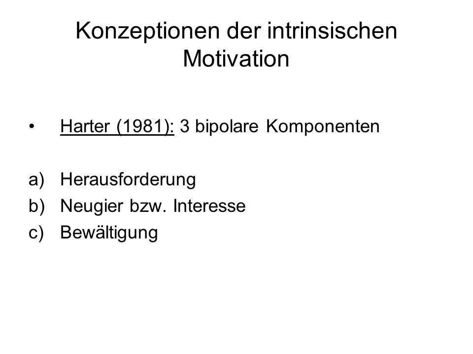 Konzeptionen der intrinsischen Motivation Harter (1981): 3 bipolare Komponenten a)Herausforderung b)Neugier bzw. Interesse c)Bewältigung
