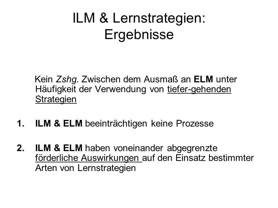 ILM & Lernstrategien: Ergebnisse Kein Zshg. Zwischen dem Ausmaß an ELM unter Häufigkeit der Verwendung von tiefer-gehenden Strategien 1.ILM & ELM beei