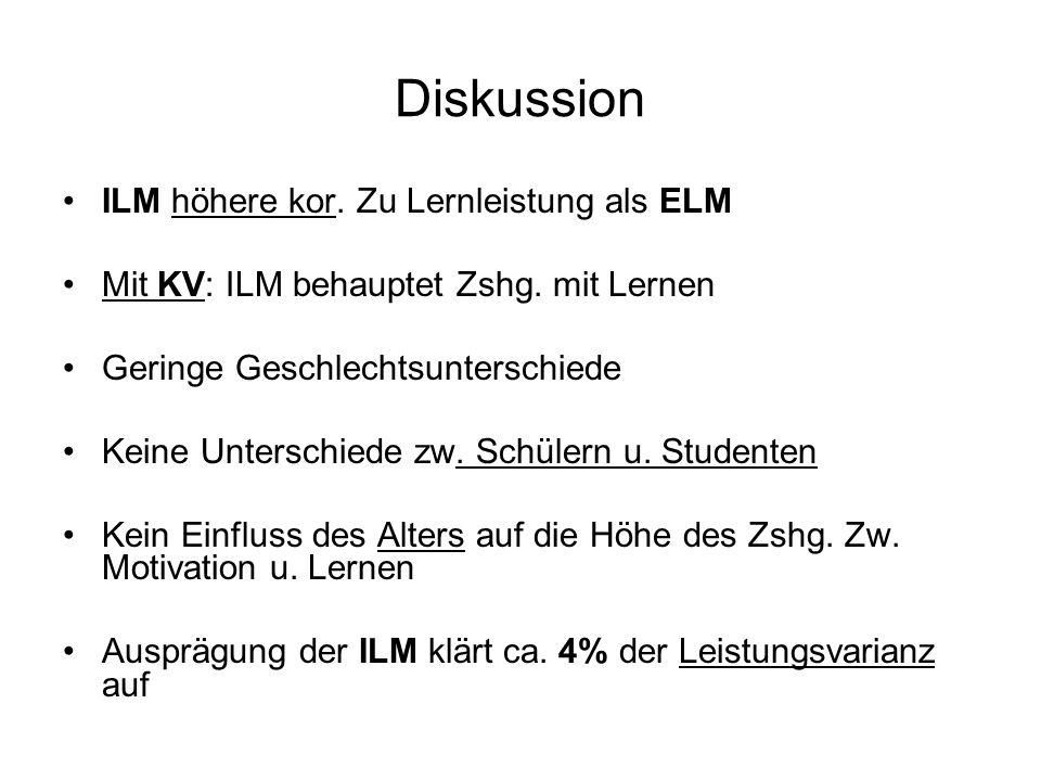Diskussion ILM höhere kor. Zu Lernleistung als ELM Mit KV: ILM behauptet Zshg. mit Lernen Geringe Geschlechtsunterschiede Keine Unterschiede zw. Schül
