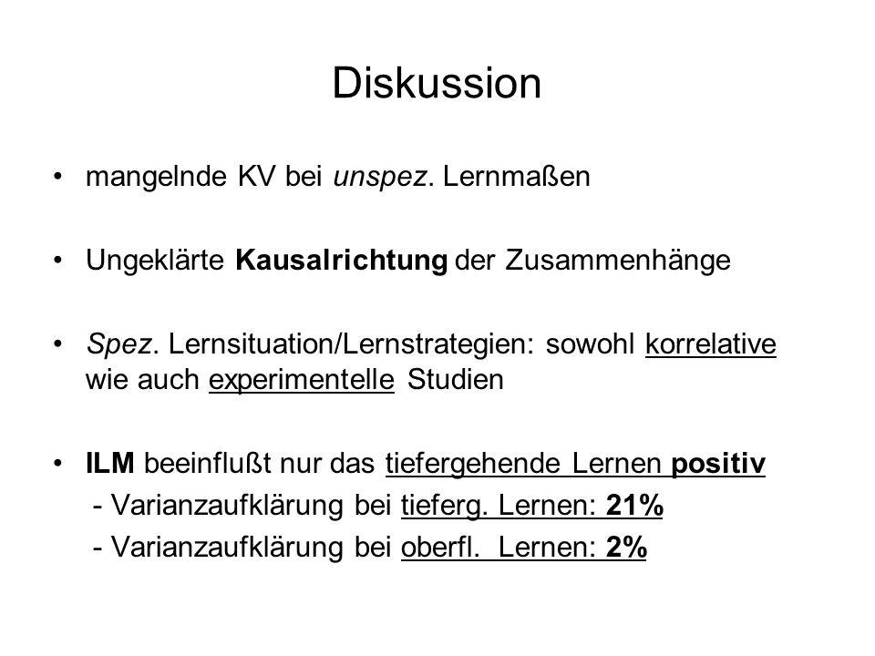 Diskussion mangelnde KV bei unspez. Lernmaßen Ungeklärte Kausalrichtung der Zusammenhänge Spez. Lernsituation/Lernstrategien: sowohl korrelative wie a